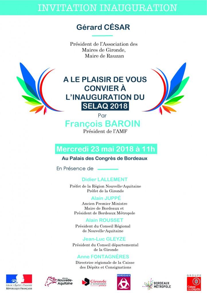 Invitation inauguration Selaq - Association des Maires 33-01