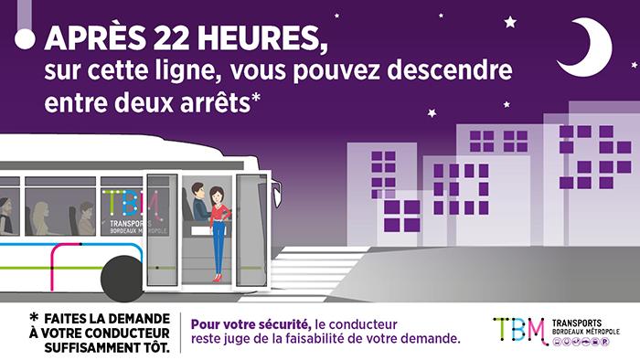 Visuel sur la descente à la demande expérimentée depuis 2017 sur certaines lignes de bus de Bordeaux métropole